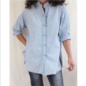 J Jill over sized chambray top frog knot buttons